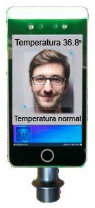terminal de reconocimiento facial y toma de temperatura